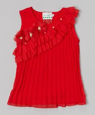 Lavender Rhinestone Lace Ruffle Top - Infant, Toddler & Girls