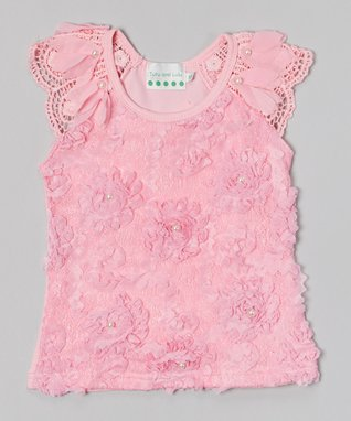 Pink Pearl Rose Lace Top - Infant, Toddler & Girls