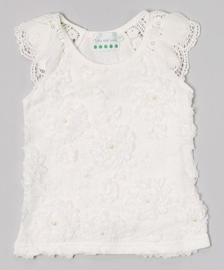 White Pearl Rose Lace Top - Infant, Toddler & Girls