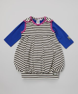 Charcoal & Berry Stripe Bubble Dress & Tee - Infant