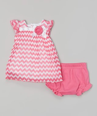 Real Love Pink Polka Dot Poplin Dress Set - Infant, Toddler & Girls