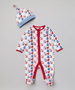 My O Baby Red & Blue Nautical Organic Footie & Beanie - Infant
