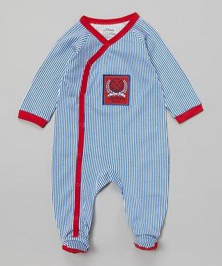 Tumblewalla Blue & Red Rhino Organic Bodysuit - Infant