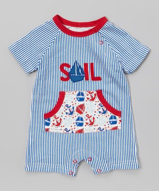 My O Baby Blue & Red Stripe 'Sail' Organic Playsuit - Infant