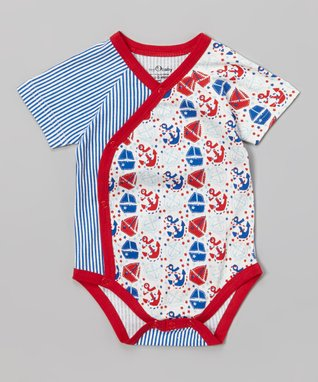 My O Baby Blue & Red Stripe Sailing Organic Wrap Footie - Infant