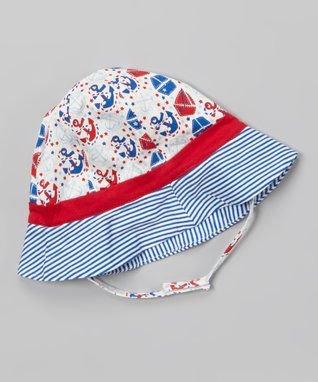 My O Baby Blue & Red Stripe Sailing Organic Bodysuit - Infant