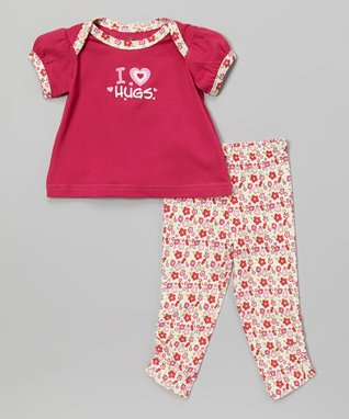 My O Baby Pink Floral Organic Footie & Beanie - Infant