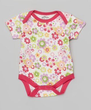 My O Baby Pink Daisy Appliqué Organic Footie - Infant