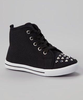 Ameta Corporation Black Star Studded Hi-Top Sneaker