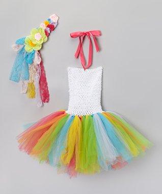 White Rainbow Tutu Dress & Headband - Toddler