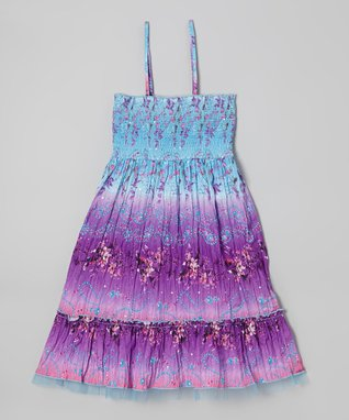Squeeze Blue & Purple Paisley Convertible Dress - Girls