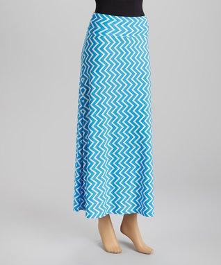 Blue Zigzag Maxi Skirt