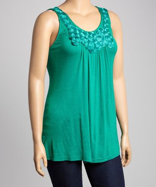 Emerald Rosette Sleeveless Top - Plus