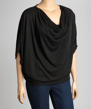 Black Drape Cape-Sleeve Top - Plus