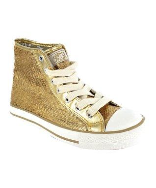 Gotta Flurt Gold Sequin Disco Hi-Top Sneaker
