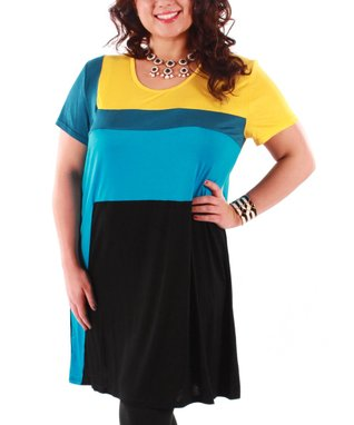 Jasmine Yellow & Teal Color Block Shift Dress - Plus