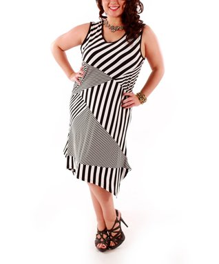 Jasmine Black & White Stripe Panel Asymmetrical Dress - Plus