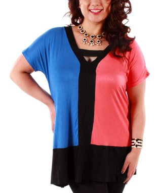 Jasmine Blue & Coral Color Block Tunic - Plus