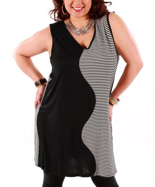 Jasmine Black & White Color Block Swirl Shift Dress - Plus