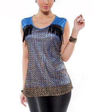 Blue Crocheted Zipper Top