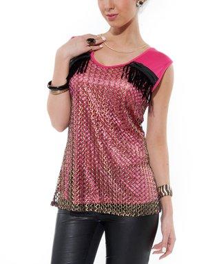 Pink Crocheted Zipper Top