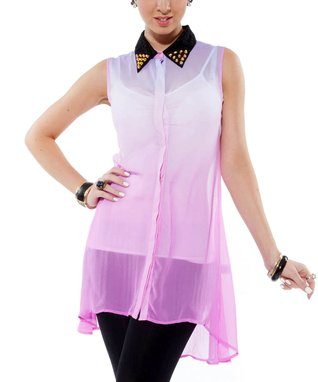 Pink Studded Sheer Sleeveless Button-Up