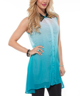 Teal Studded Sheer Sleeveless Button-Up