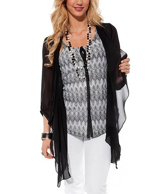 Black Sheer Three-Quarter Sleeve Open Cardigan