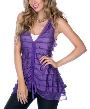 Purple Tiered Sheer Sleeveless Top