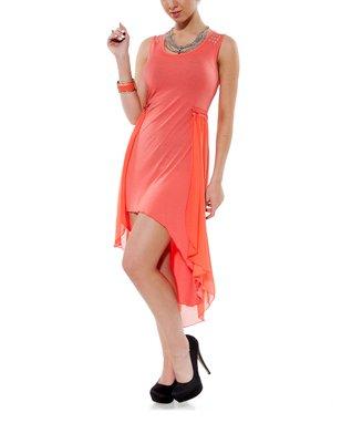 Coral Embellished Hi-Low Dress