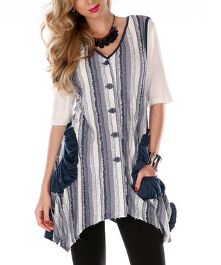 Blue Fray Sleeveless Sidetail Button-Up Top