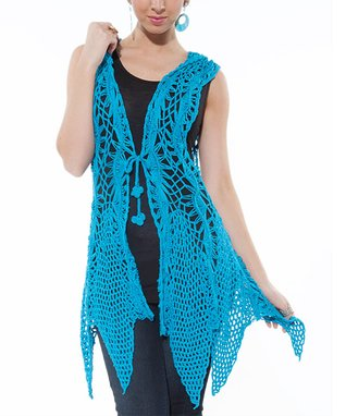 Turquoise Crocheted Duster