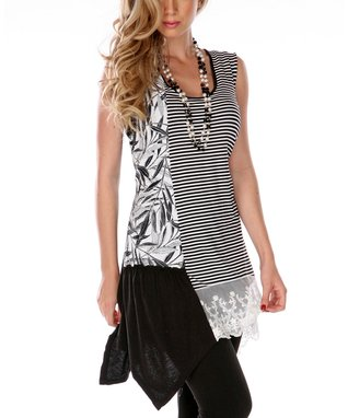Black & White Lace-Trim Asymmetrical-Hem Top