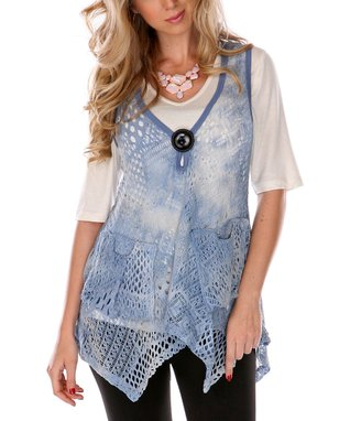 Blue & White Sheer Patchwork Tunic