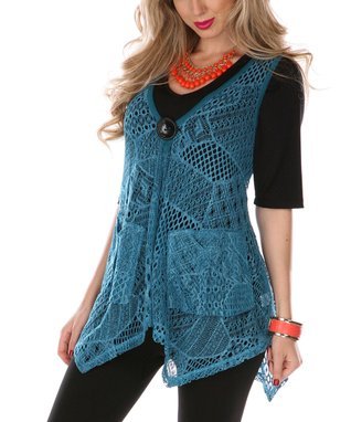 Teal Sheer Patchwork Tunic