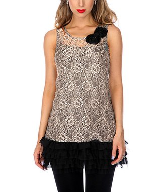 Beige Lace Ruffle Sleeveless Tunic