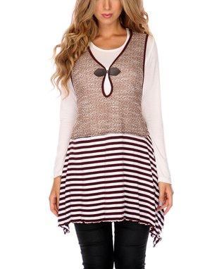 Mocha Stripe Keyhole Sleeveless Tunic