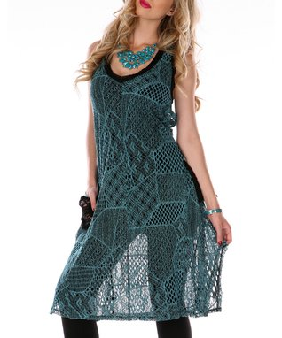 Teal Crochet Tie-Back Tunic