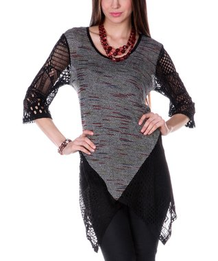 Gray Crochet Three-Quarter Sleeve Top