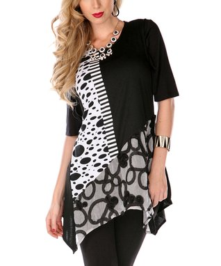 Black Oval Sleeveless Sidetail Top