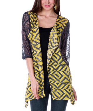 Yellow Diamond Open Cardigan