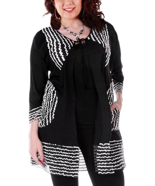 Lily Black & White Stripe Peasant Duster - Plus