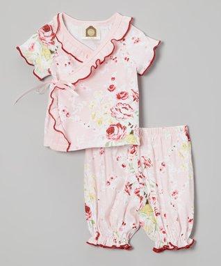 My O Baby Pink Flower Organic Ruffle Dress & Leggings - Infant