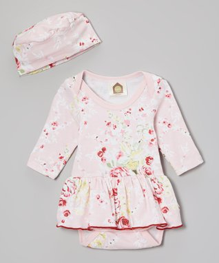 Barn Organics Pink Cabbage Roses Organic Wrap Top & Bloomers - Infant
