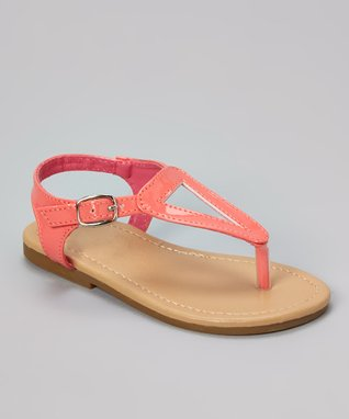 Hot Pink Pyramid Stud T-Strap Sandal