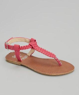 Fuchsia Triangle Patent Leather Sandals
