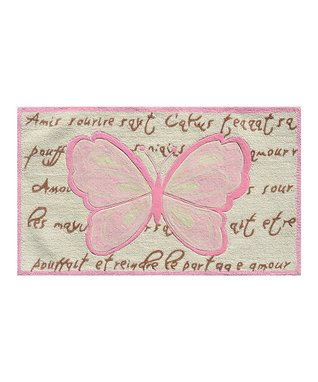Pink & Brown French Butterfly Rug