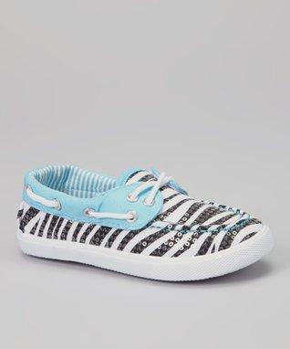 Chatties Turquoise Zebra Sequin Boat Shoe