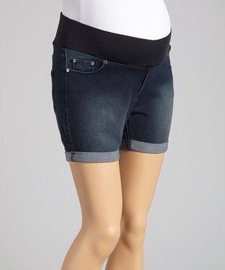 Oh! Mamma Medium Denim Supersoft Under-Belly Maternity Shorts - Women