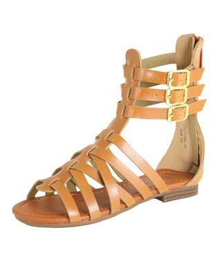 Black Buckle Knee-High Gladiator Sandal